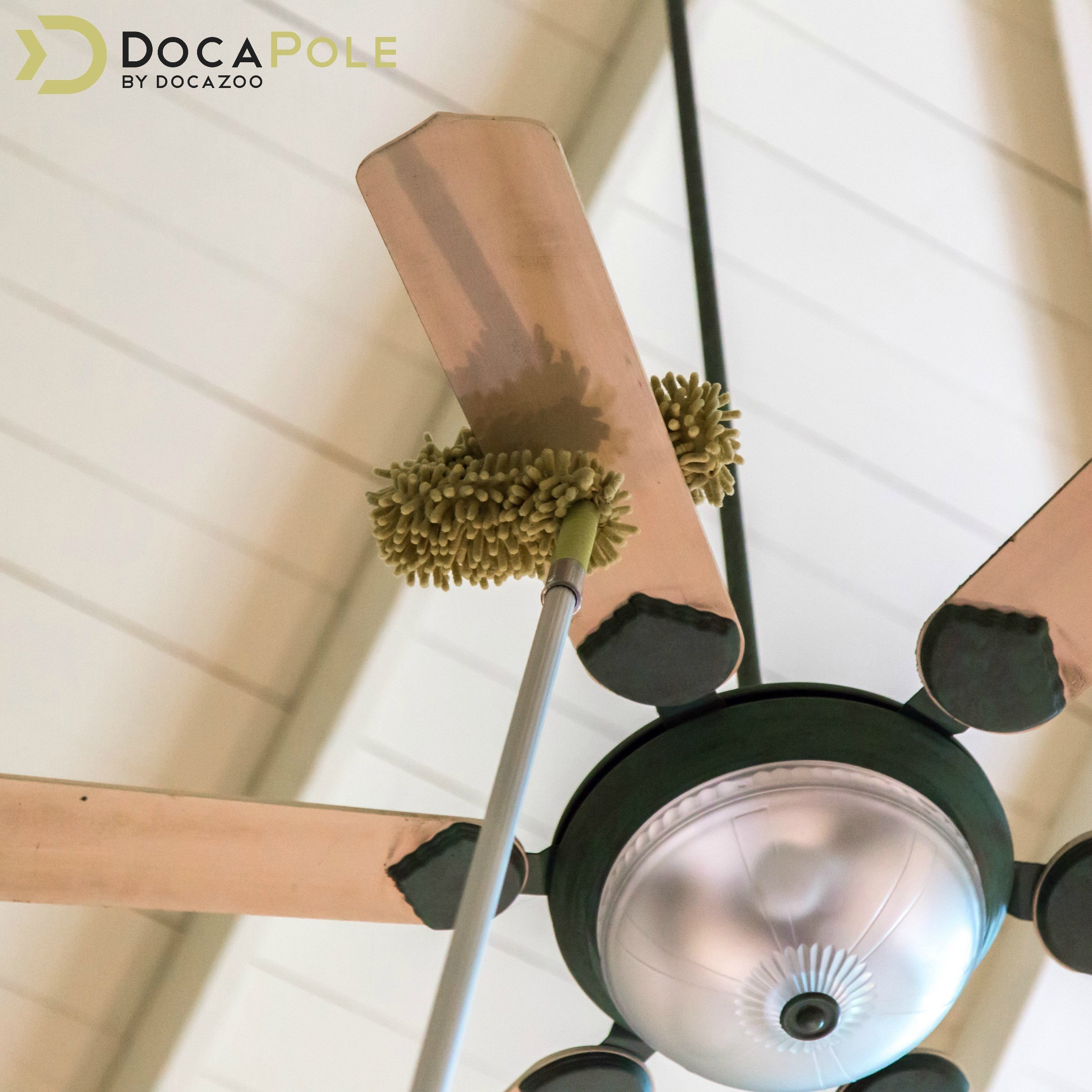 DocaPole Dusting Kit for Extension Pole or by Hand | Cleaning Kit Includes 3 Dusting Attachments | Cobweb Duster | Microfiber Feather Duster | Flexible Chenille Ceiling Fan Duster by DOCAZOO (Image #2)