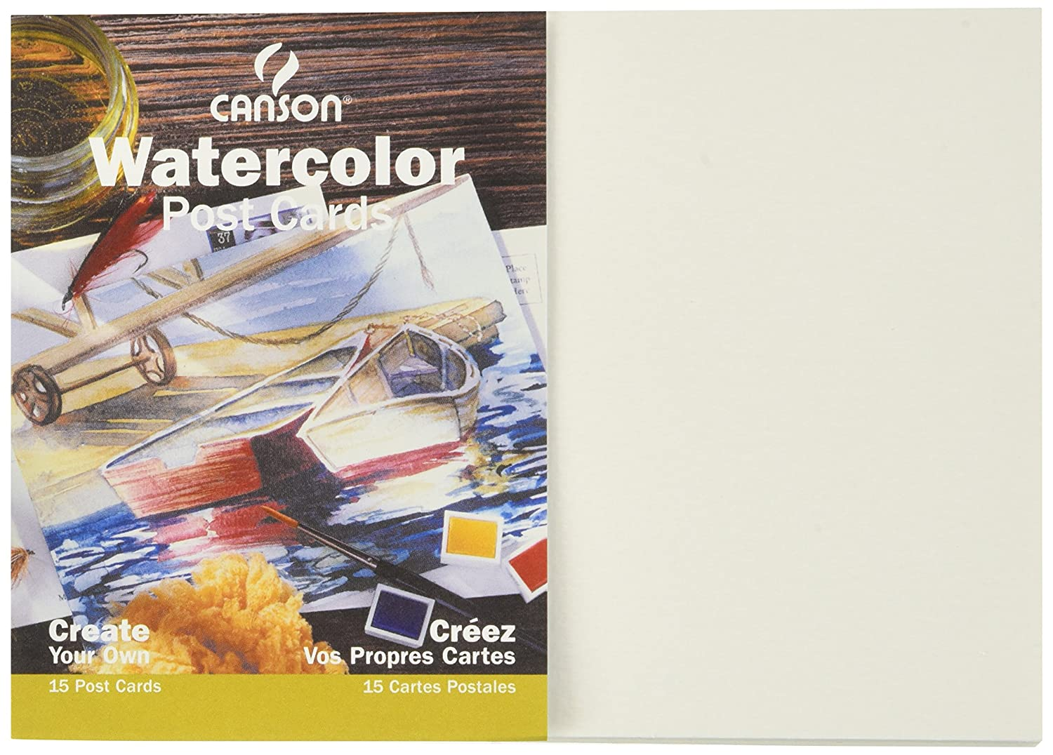 Canson Customizable Blank Watercolor Paper Postcards, 140 Pound, 5 x 7 Inch, 15 Card Set 100511543