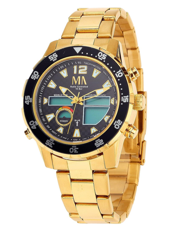 Armbanduhr Herren Worldtimer-Funk-Solar-Chronograph Gold mit Wechselband - Anzeige analog und digital wasserdicht