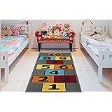 """Ottomanson Children's Garden Collection Grey Background Hopscotch Design 2'7"""" X6'0 Children Nursery Kid's Play Runner Rug"""