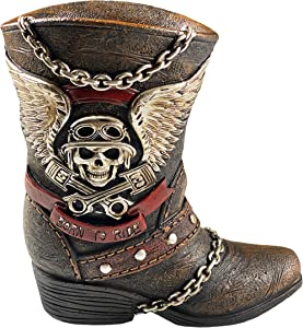 Urbalabs Born to Ride Skull and Angel Wings Motorcycle Biker Boot Vase Mechanic Gifts Man Cave Decor Holds Flowers, Kitchen Equipment, Pens or Pencils Office and Bar Decor (Born to Ride)