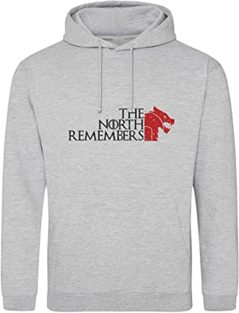 The North Remembers Stark Red Wolf Head Got Gris Sudadera con Capucha Unisex L