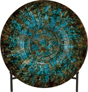 """Deco 79 Traditional Round Cracked Design Glass Decorative Charger Plate with Stand, 18""""D, Multi"""