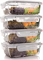 Glass Meal Prep Containers - Four 1-Compartment Food Storage Containers