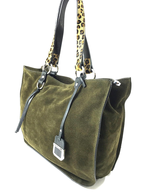 3f89d4235f80 Innue Women's Olive Green Italian Suede Shoulder Tote Bag Pony Skin ...