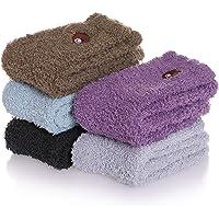 CHOWISH 5/6 Pairs Women Plush Slipper Socks Winter Warm Fuzzy Fluffy Super Soft Cozy Home Socks
