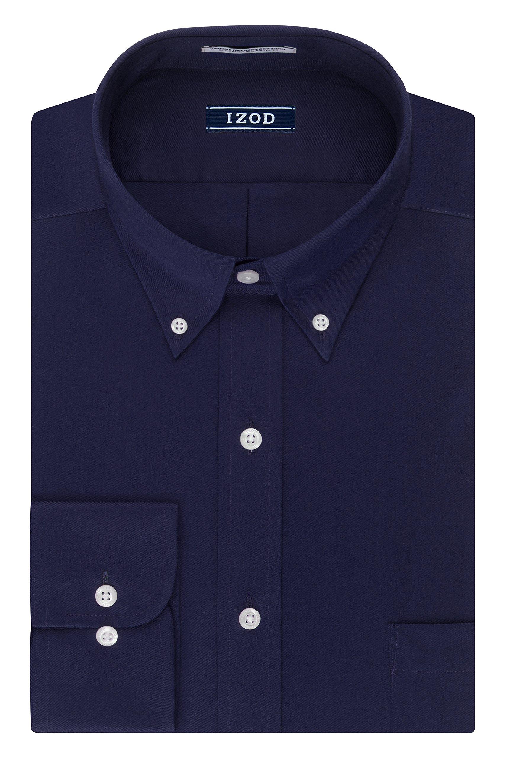 IZOD Men's Regular Fit Stretch Solid Buttondown Collar Dress Shirt, Sailor Navy, 14''-14.5'' Neck 32''-33'' Sleeve