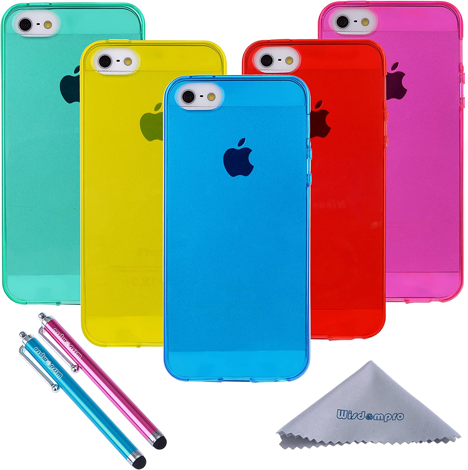 iPhone 5s Case, Wisdompro 5 Pack Bundle of Clear Jelly Colorful Soft TPU GEL Protective Case Cover for Apple iPhone 5, iPhone 5s & iPhone SE 1st ...