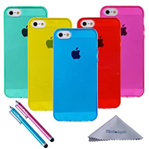 iPhone 5s Case, Wisdompro 5 Pack Bundle of Clear Jelly Colorful Soft TPU Gel Protective Case Cover for Apple iPhone 5, iPhone 5s & iPhone SE (Blue, Aqua Blue, Hot Pink, Yellow, Red)-Transparent