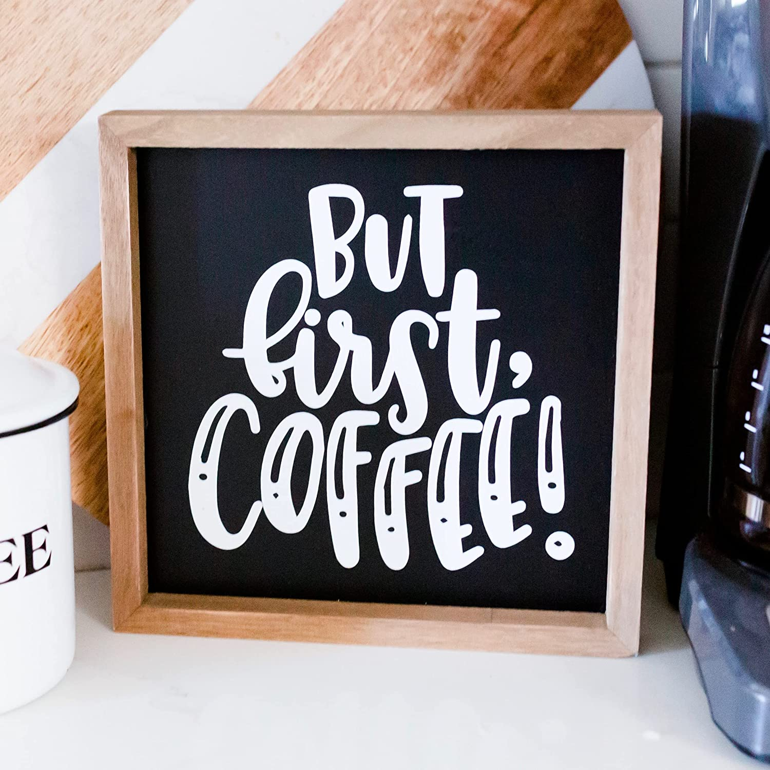 Coffee Sign   Coffee Bar Sign 9x9   Coffee Signs for Coffee Bar   Farmhouse Coffee Bar Decor   Farmhouse Coffee Bar Signs   Coffee Decor for Coffee Bar   Coffee Station Decor   But First Coffee Sign