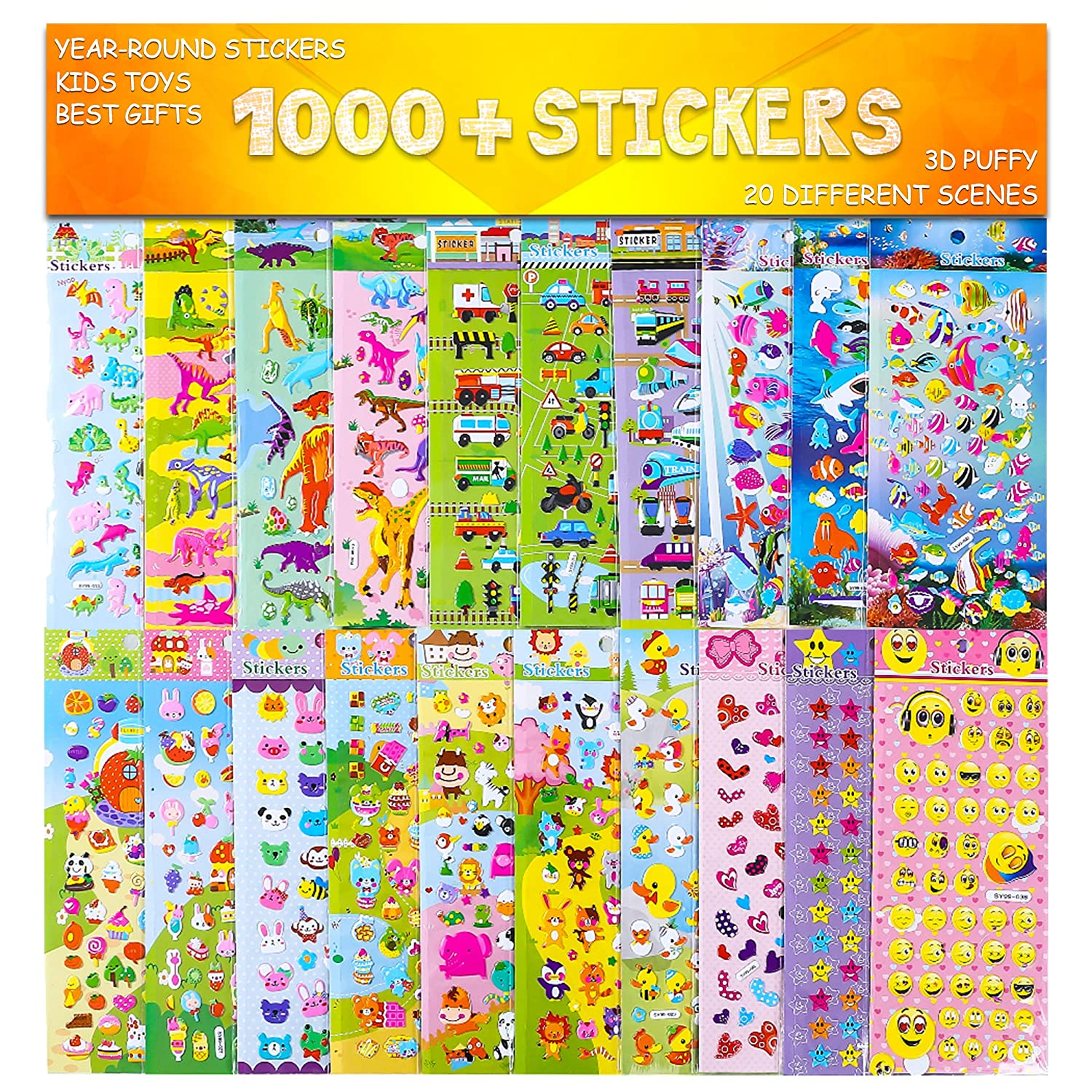 Stickers 1000 and 20 different scenes 3d puffy stickers year round sticker bulk pack for teachersstudents toddlersscrapbooking girl boy birthday