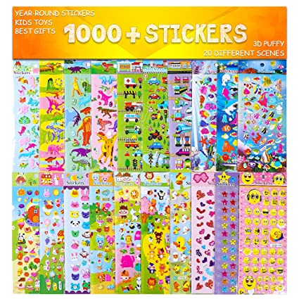 Stickers 1000 And 20 Different Scenes 3D Puffy Year Round Sticker