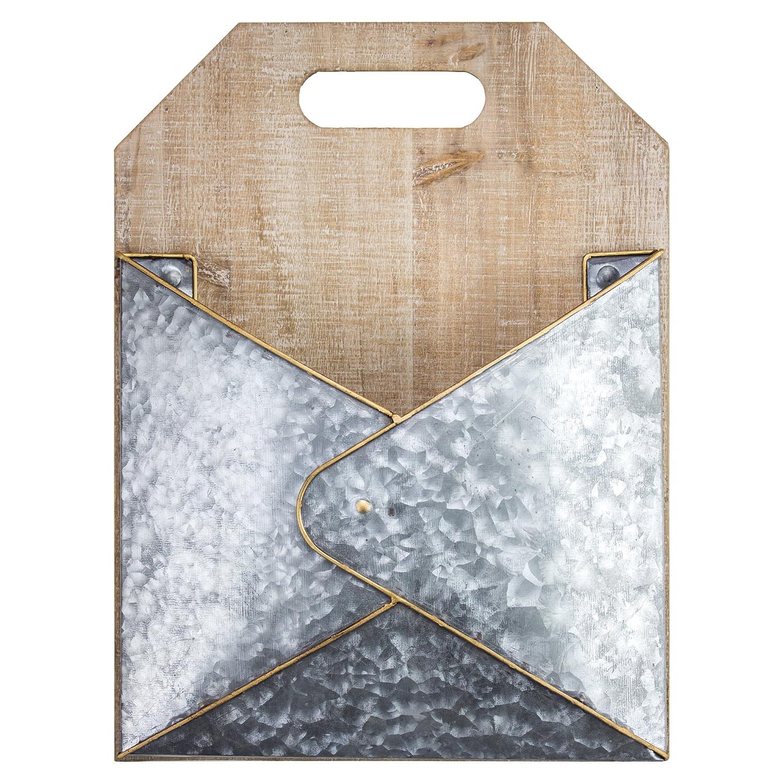 American Art Decor Rustic 1 Pocket Wood Galvanized Metal Mail/Magazine Rack American Art Décor