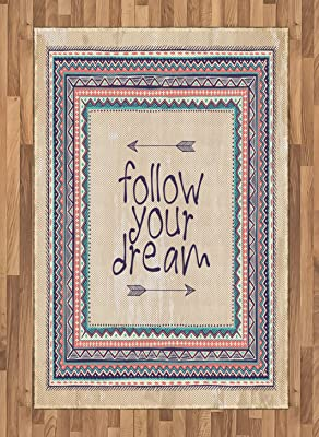 Ambesonne Tribal Area Rug, Inspirational Quote Follow Your Dream and Arrows Aztec Framed Graphic Art Print, Flat Woven Accent Rug for Living Room Bedroom Dining Room, 4 X 5.7 FT, Tan Coral Blue