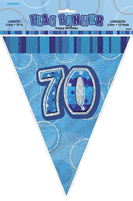 Amazon.com: 12 ft Foil Glitz Azul banderines de 70º ...