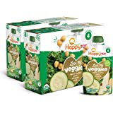 Happy Tot Organic Stage 4 Baby Food Love My Veggies Zucchini/Pear/Chickpeas & Kale, 4.2 Ounce Pouch (Pack of 16…