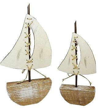 Khevga Baddeko Badezimmer Dekoration Deko Schiff Aus Holz 2er Set