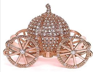 VI N VI Rose Gold Princess Cinderella Silver Rhinestone Crystal Pumpkin Carriage Trinket Box, Jewelry Box   Hand Painted Collectible Figurine and Decorative Jewelry Display, Holder, and Organizer