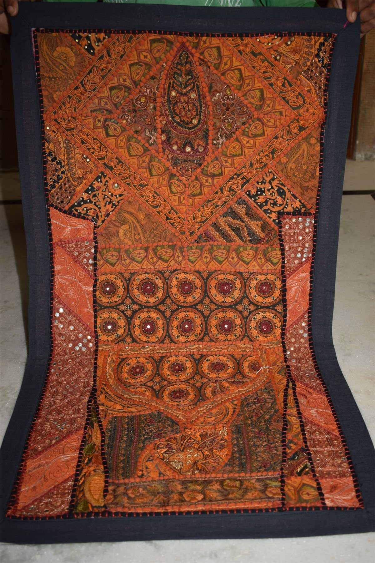India Wall Hanging Beaded Vintage Sari Patchwork Tapestry Throw 93