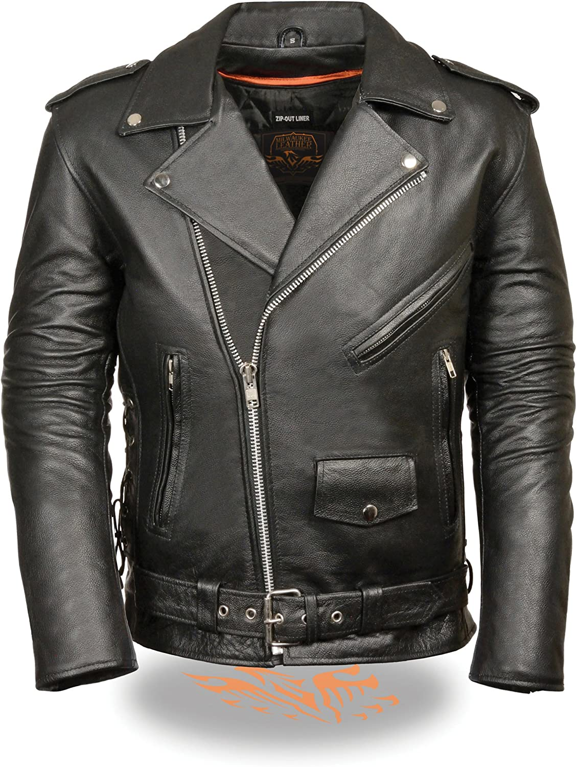 Milwaukee Leather Mens Leather Side Lace Police Style Motorcycle Jacket