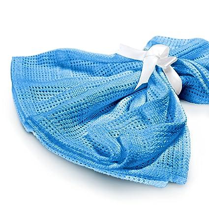 Lumaland Mantita arrullo para recién nacidos. Sin contaminantes 100% Algodón75 x 90 cm azul