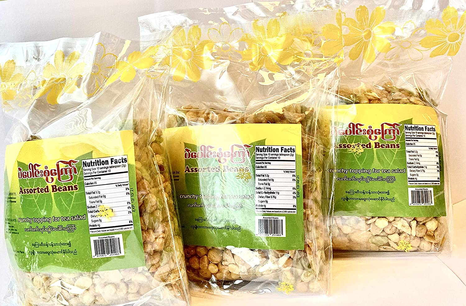 Burmese Tea Salad Toppings (9 ounce) X 3 packages (လၹက္ပဲေၾကာ္)