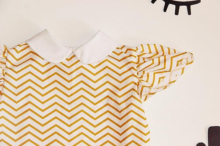 dc4ad71366cc0 Blouse Chemise T-shirt Eté Bébé Fille en Coton Rayures Jaune Blanc Col  Claudine Manches