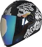 Steelbird Air SBA-2 Strength Night Vision Full Face Graphics Helmet - Single Night Vision Dual Action Visor for Day and Night (Large 600 MM, Matt Black/White)