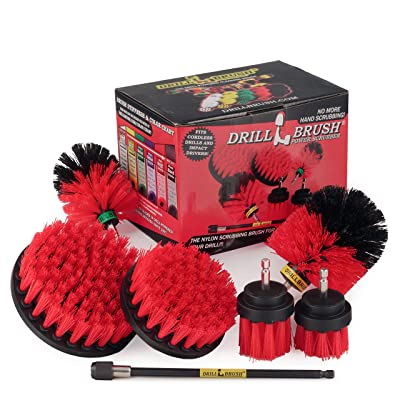 Drillbrush Ultimate Outdoor Cleaning Kit with 7 Inch Extension - Stiff Bristle Brush - Grout Cleaner – Mold - Mildew - Bird Bath - Garden Statues - Outdoor Water Fountain - Headstone - Granite Cleaner: Health & Personal Care