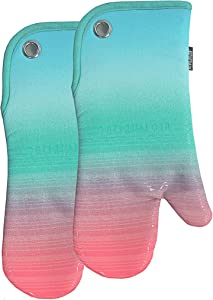 RED LMLDETA Transparent Stripe Silicone Oven Mitts/Gloves 1 Pair, Heat Resistant Non-Slip for Home Kitchen Cooking Barbecue Microwave Machine Washable BBQ (Gradual Blue)