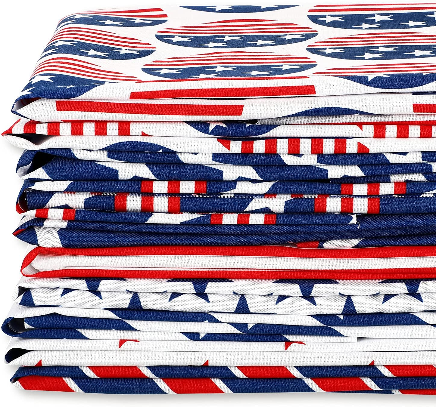 10 Pieces Patriotic Fabric Bundles, 4th of July Fat Quarters, Stars and Stripes Fabric Patriotic Decoration Print Quilting Fabric Bundles for DIY Sewing Patchwork (10 x 10 Inches)