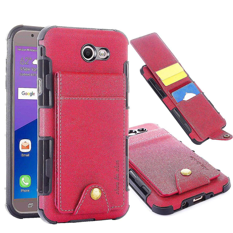 Samsung Galaxy J7 Sky Pro Case, Galaxy J7 Perx Case, Galaxy J7 V Case, Galaxy Halo, Galaxy J7 Prime Wallet Case, 5 ID Credit Card Slot, Button ...