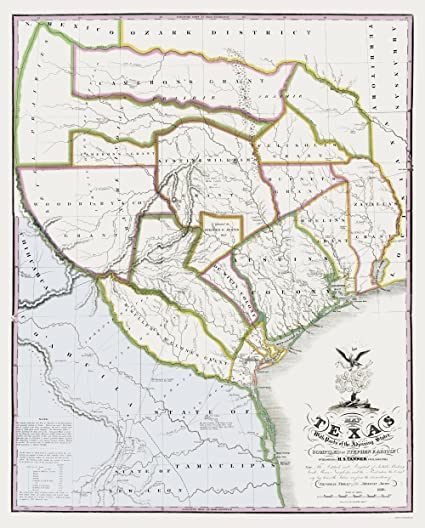 Map Of Texas 1836.Amazon Com Old State Map Texas Landowner Plat Tanner 1836 23