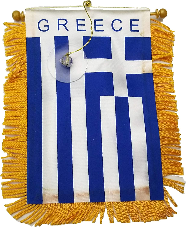 BUNFIREs Greece Flag Automobile Rearview Mirror or Window Flag car Mini Banner Home Greek Pride