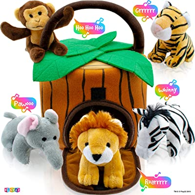 Play22 Plush Talking Stuffed Animals Jungle Set - Plush Toys Set with Carrier for Kids Babies & Toddlers - 6 Piece Set Baby Stuffed Animals Includes Stuffed Bear, Elephant, Tiger, Lion, Zebra, Monkey: Home & Kitchen