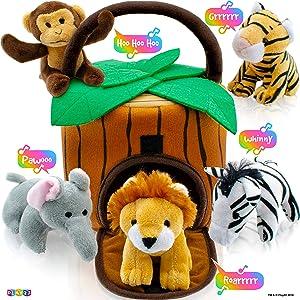 Play22 Plush Talking Stuffed Animals Jungle Set - Plush Toys Set with Carrier for Kids Babies & Toddlers - 6 Piece Set Baby Stuffed Animals Includes Stuffed Bear, Elephant, Tiger, Lion, Zebra, Monkey