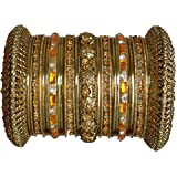 Indian Bridal Collection! Panache' Indian Gold Bangles Set in Gold Tone By BangleEmporium. Small Size 2.6