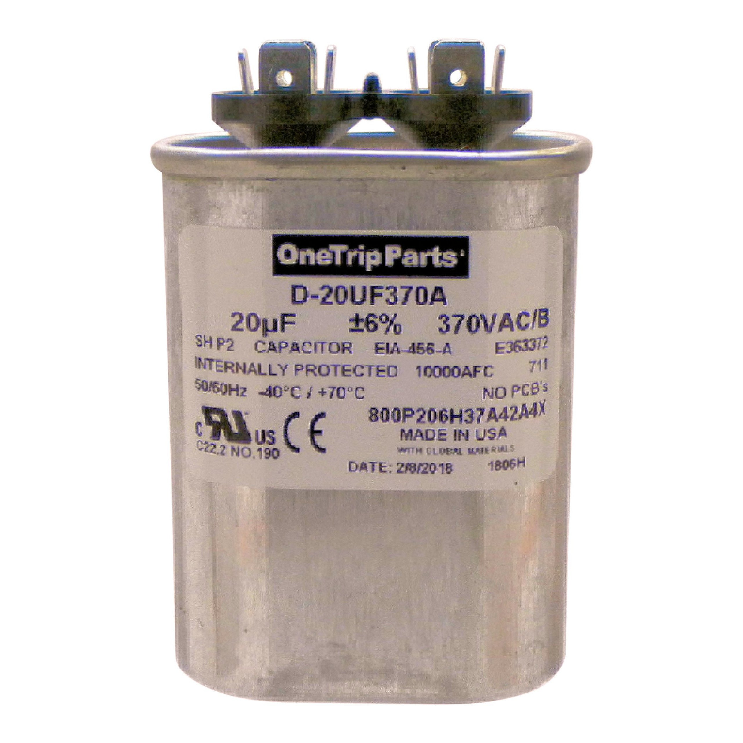OneTrip Parts USA Run Capacitor 20 UF - 20 MFD 370 VAC Flat Oval