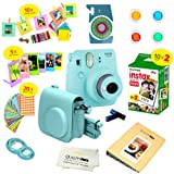 Fujifilm Instax Mini 9 Ice Blue Camera, Bundled W/ A 14 PC Accessory Set Included as a Kit for the Instant Camera, + Fuji Instant Film (Twin Pack) Provides 20 Beautiful Instant Polaroid Camera Photos