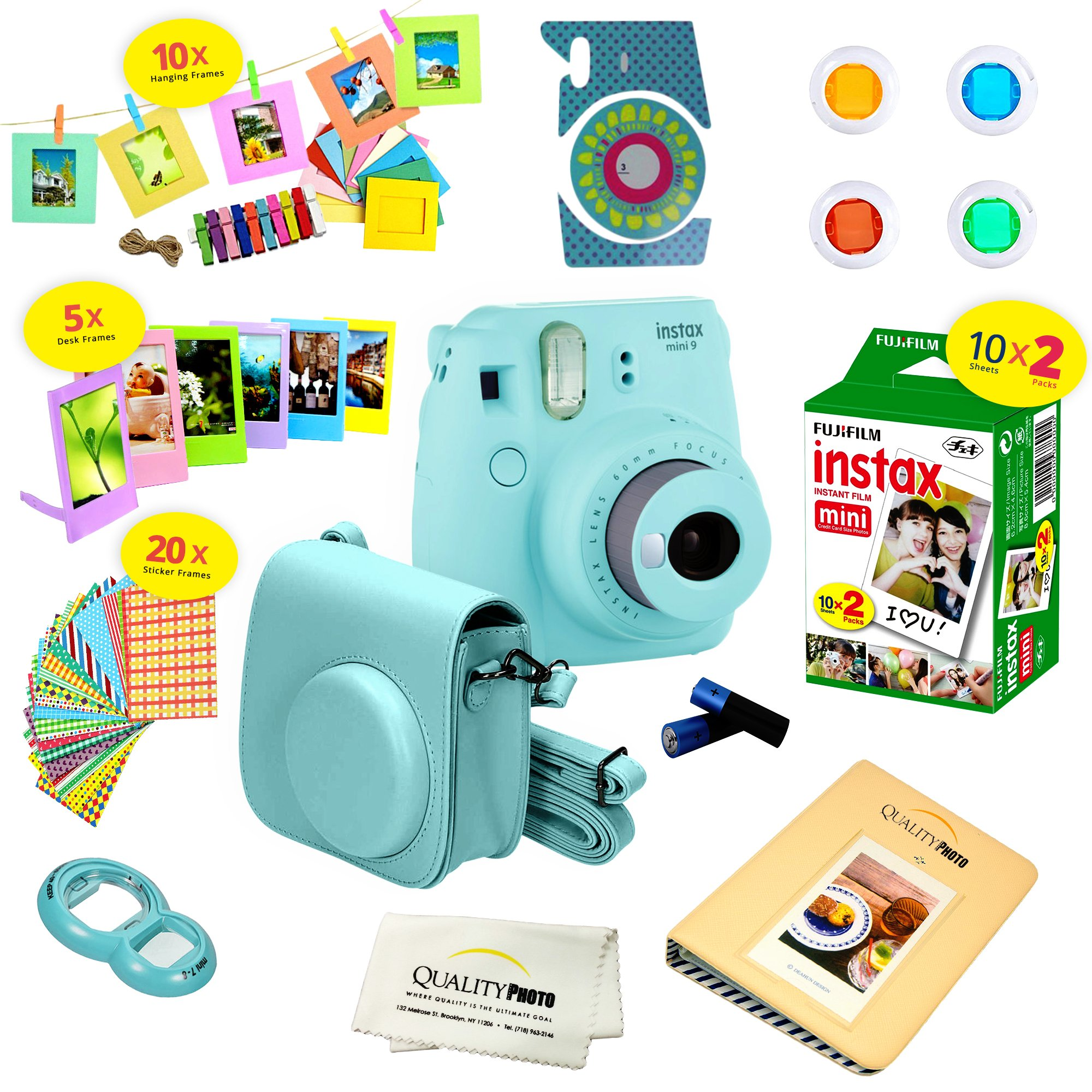 Fujifilm Instax Mini 9 Instant Camera ICE BLUE w/ Film and Accessories – Polaroid Camera Kit by Fujifilm
