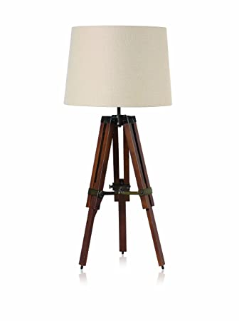 NEW Surveyors Wood Tripod Table Lamp With Shade