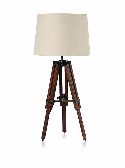 Bristol Terrace Wood Table Tripod Lamp, Brown / Cream