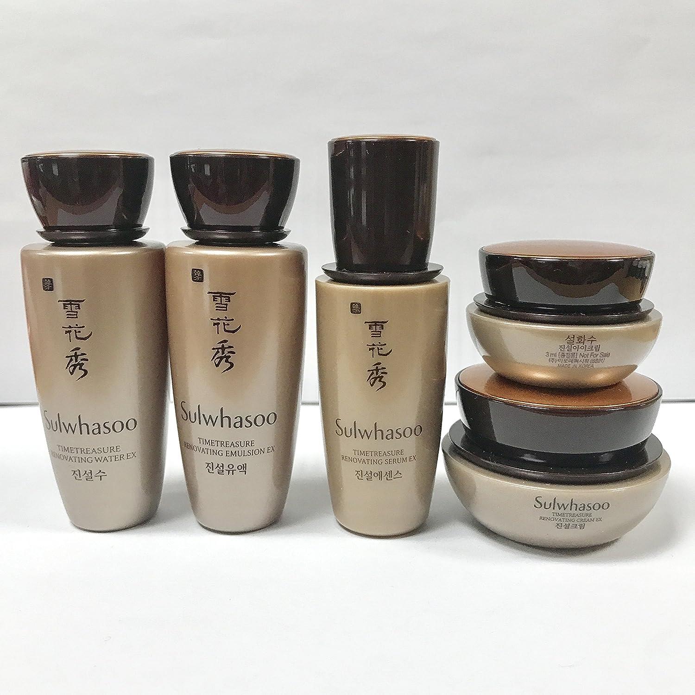 Amazon.com: Sulwhasoo Timetreasure EX 5 Items (Timetresure Water EX 30ml /  Emulsion EX 30ml / Serum EX 5ml / Eye Cream EX 3ml / Cream EX 8ml): Beauty