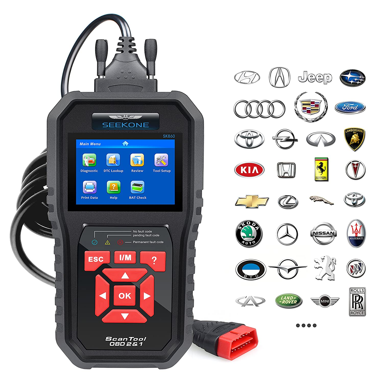 Amazon.com: SEEKONE Professional Car OBD2 Scanner Auto Diagnsotic Fault Code  Reader Check Engine Light Diagnostic EOBD Scan Tool(Enhanced SK860): Cell  ...