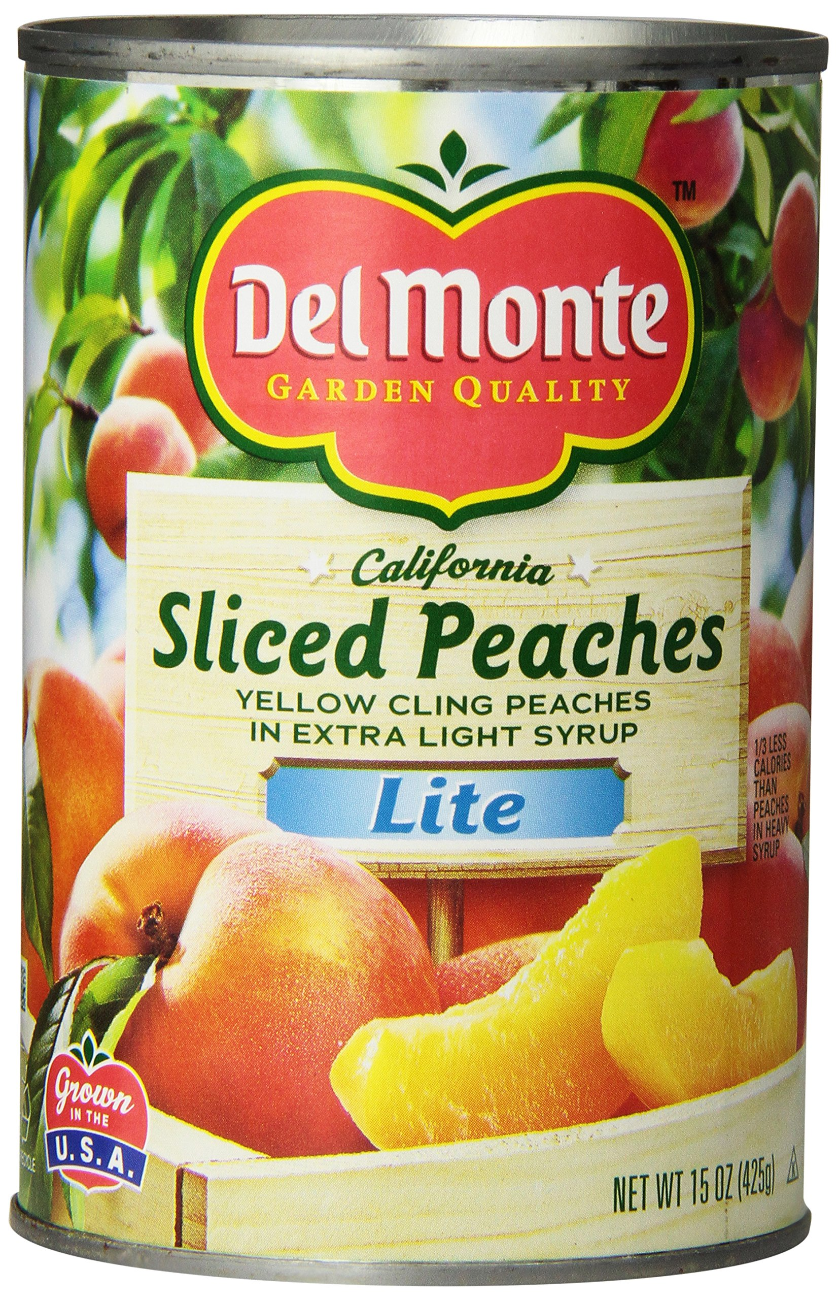 Del Monte Lite Sliced Yellow Cling Peaches In Extra Light Syrup, 15 Ounce (Pack of 12)