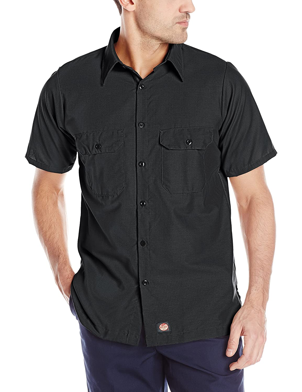 Red KapメンズソリッドカラーRip Stop Short Sleeve Work Shirt – sy60kh B00O98HDZY Short Sleeve 2X-Large|ブラック ブラック Short Sleeve 2X-Large