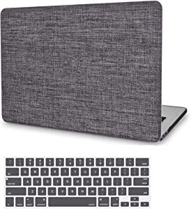 MacBook Pro 15 inch Case 2019 2018 2017 2016 Release A1990 A1707, JGOO Slim Soft Touch Fabric Hard Protective Shell Cover with Keyboard Cover for Apple Mac Pro 15 with Touch Bar and Touch ID, Grey