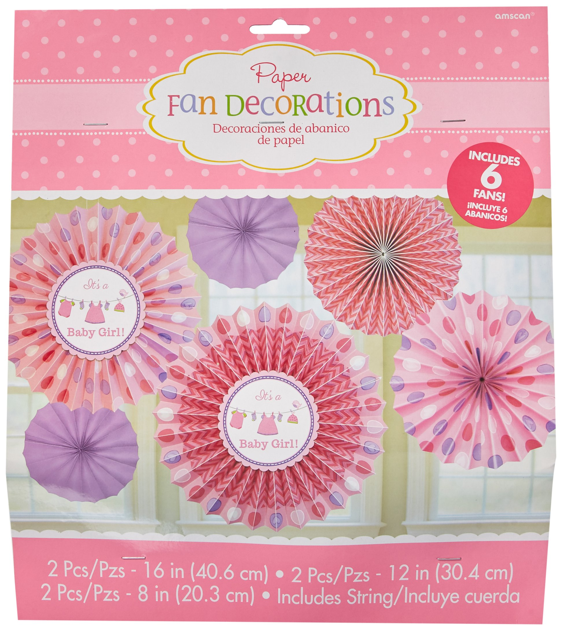 Amscan Delightful Love-Girl Paper Fan Baby Shower Party Decorations, Pack of 6. (72 Piece)