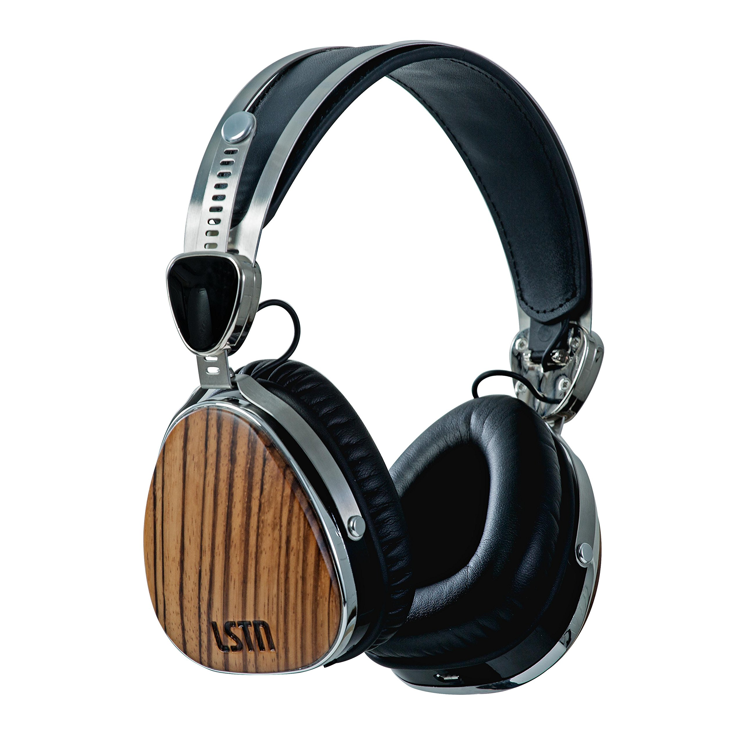 LSTN Wireless Troubadours Zebra Wood On-Ear Headphones with Built-In Microphone, Volume Controls