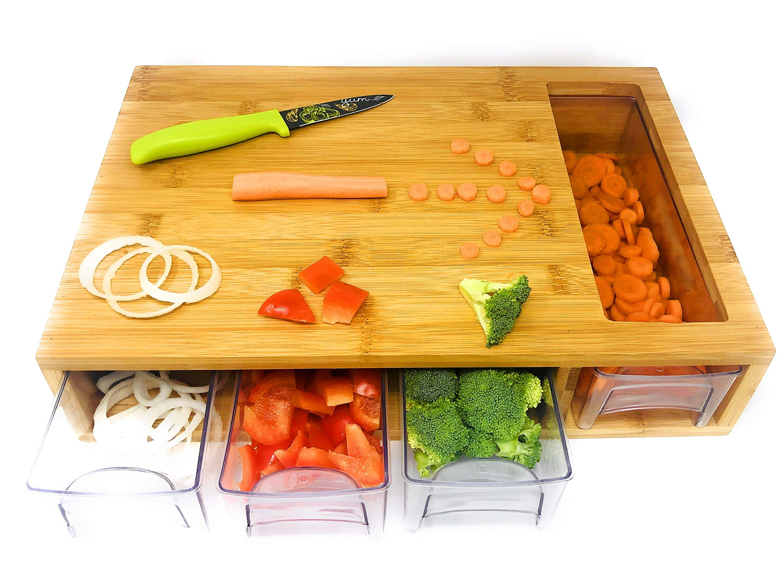 Bamboo Cutting Board With Trays/Drawers - Meal Prep Station - Naturally Antimicrobial - Cutting Board for Food Prep, Meat, Vegetables, Fruits, Crackers & Cheese by Sheldon & Duff
